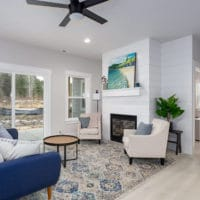 Northstar Hanson open living room with fireplace